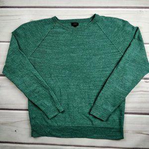 J. Crew Marled Green Cotton Crewneck Sweatshirt L